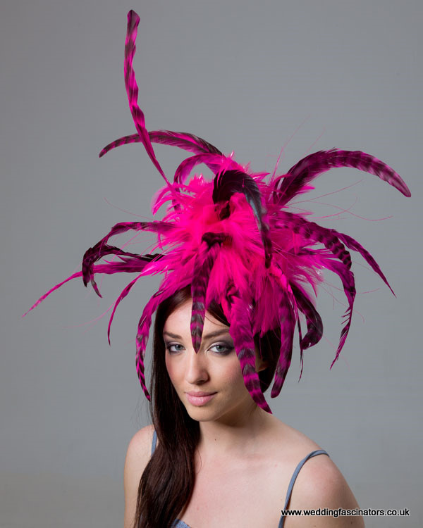 Cerise Pink and Black Mayfair Fascinator