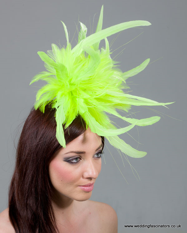 Fluorescent Yellow Mayfair fascinator