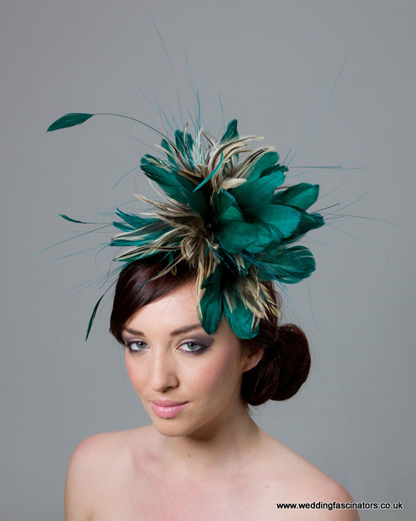 Ocean Blue and Natural Feather Fascinator  Chelsea - Fascinators by ... 45892aaacda