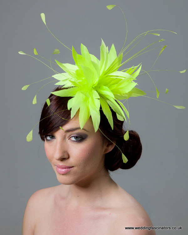 Fluorescent yellow Belgravia fascinator