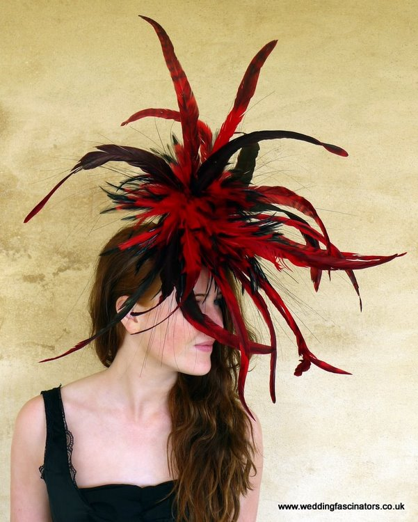 Red and black Mayfair fascinator