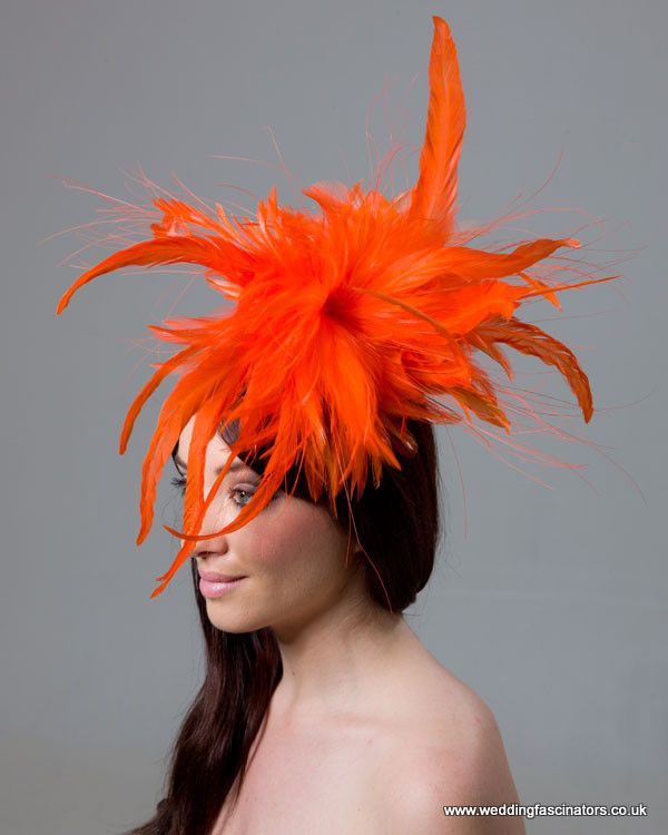 Orange Mayfair fascinator
