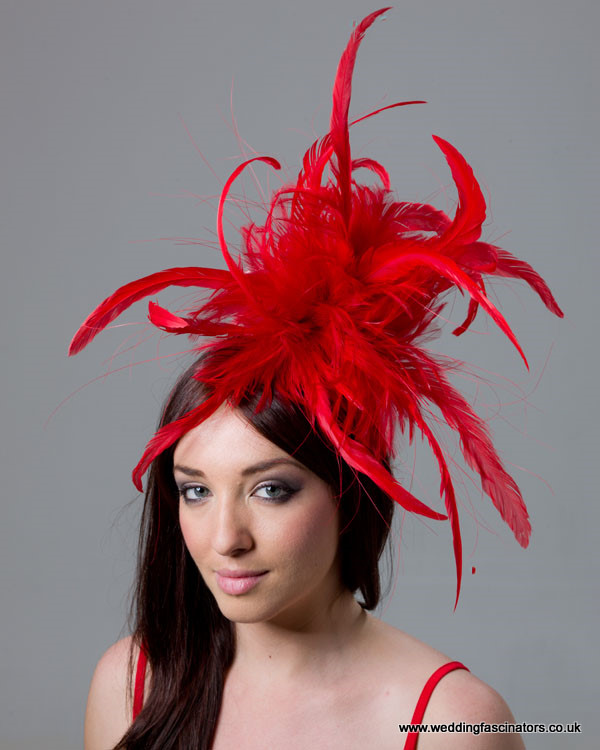 Red Mayfair fascinator