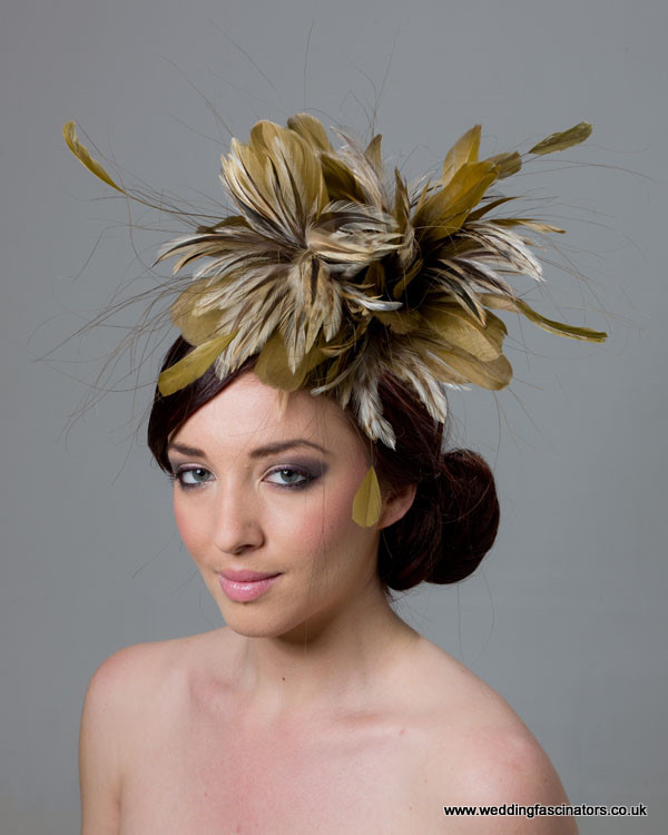 Gold and Natural Fascinator  Chelsea - Fascinators by Jemma Loveridge b130d184713