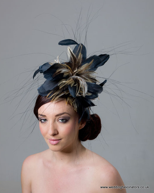 Navy and Natural Chelsea fascinator