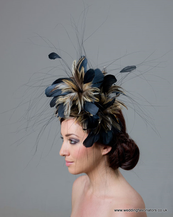 Navy Blue and Natural Fascinator  Chelsea - Fascinators by Jemma ... bf3b87f7cef