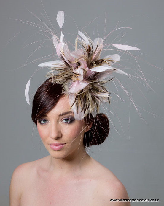 Pale Pink and Natural Chelsea fascinator