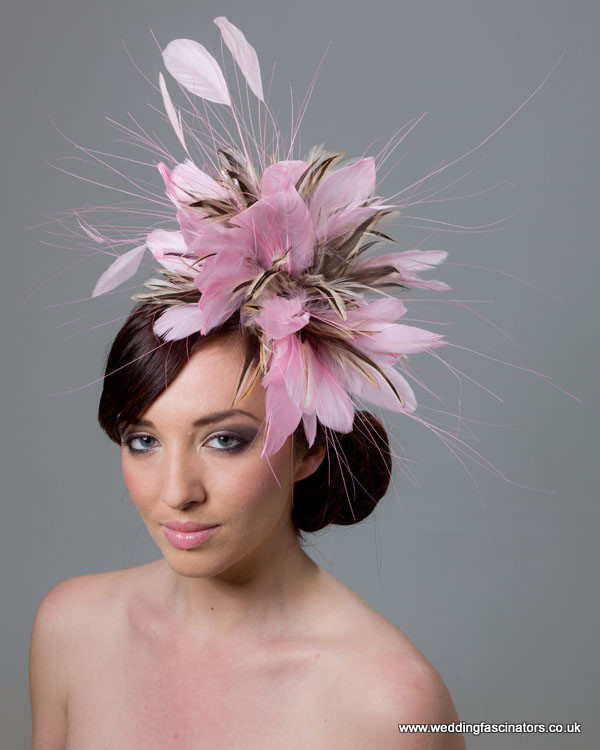 Rose Pink and Natural Chelsea fascinator