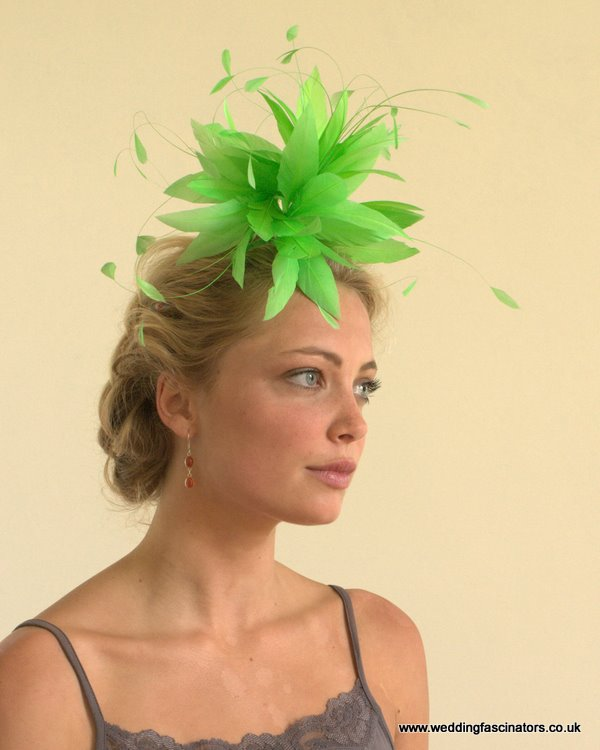 Fluorescent lime green Belgravia fascinator