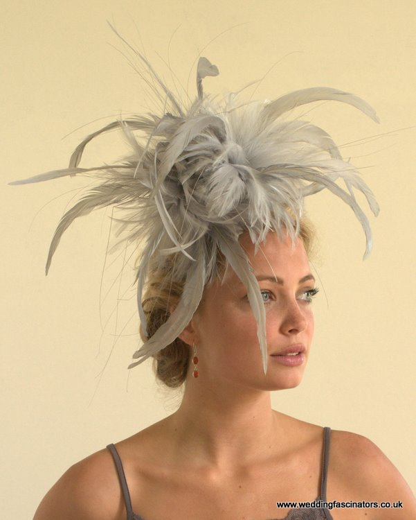Silver grey Mayfair fascinator