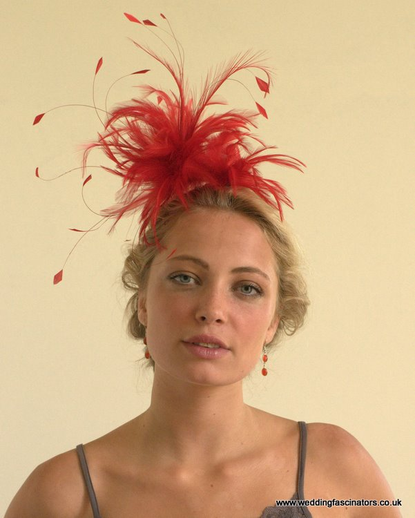 Red Fitzrovia fascinator