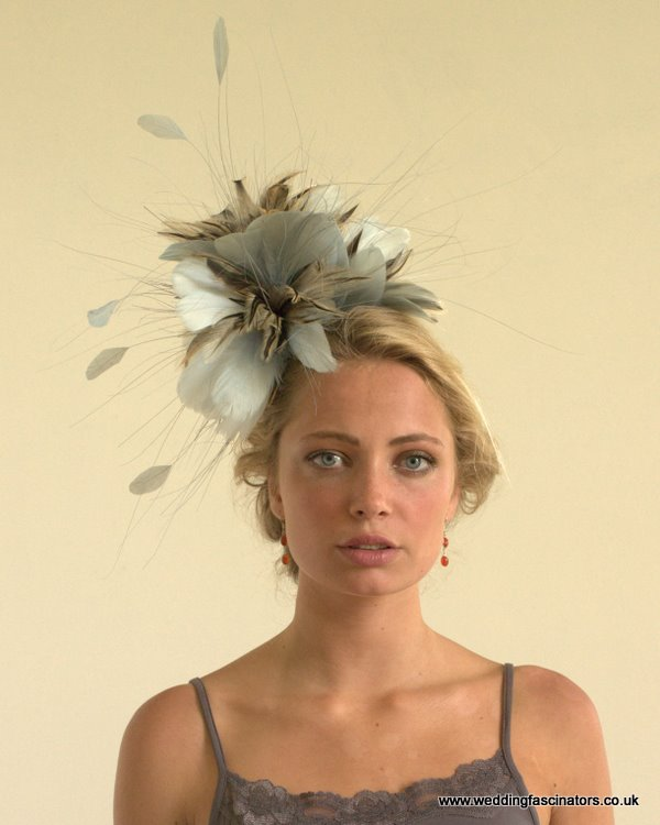 Ocean Blue and Natural Chelsea fascinator