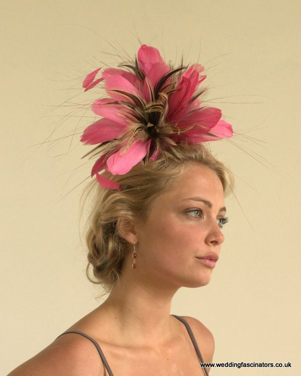 Fuschia Pink and Natural Chelsea fascinator