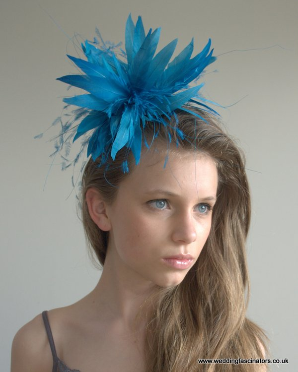 Riviera blue Knightsbridge fascinator